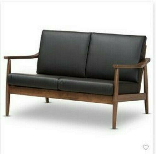 Venza Mid Modern Walnut Wood Faux Leather 2 Seater Loveseat Black - Baxtn Studio