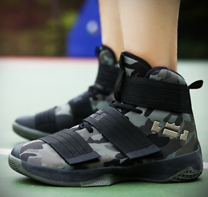 Mens Camo Basketball Sneakers High Top Ankle Boot Sports Casual Breathable shoes