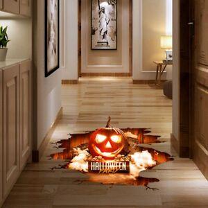 Halloween-3D-Fussboden-Wasserdicht-Unheimlich-Aufkleber-Kuerbis-Sticker-Party-Deko