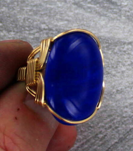 LARGE  LAPIS LAZULI GEMSTONE RING IN 14KT ROLLED GOLD  WIRE WRAPPED