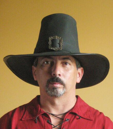 Medieval Celtic Renaissance SCA Larp Leather Puritan Solomon Kane Hat Deluxe