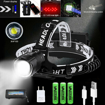 Waterproof Headlight Bright Head Torch XHP90 XHP100 LED USB Headlamp Fishing
