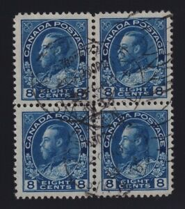 Canada-Sc-115-1925-8c-blue-Admiral-Block-of-Four-VF-Used