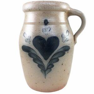 Rowe Pottery Works Crock Jug Heart Salt Glaze Handmade Hand Painted Cambridge WI