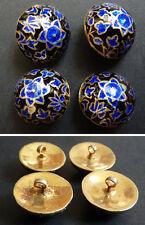 4 bouton vermeil argent massif et émail  bijou ancien silver enamel button