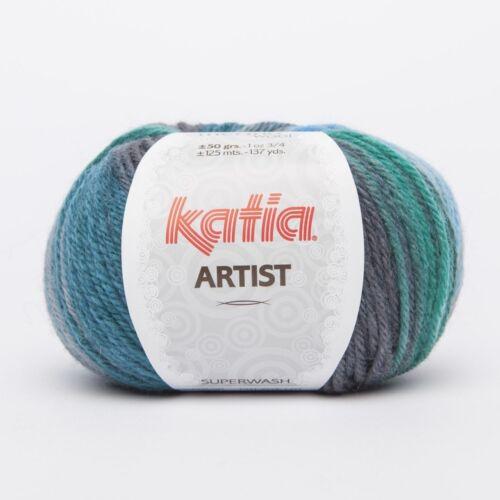 315 ARTIST von Katia MARINO//GRIS//VERDE//TURQUESA - 50 g // ca 125 m Wolle