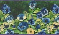 Blue, Periwinkle & Yellow Pansy Wallpaper Border Jb956b