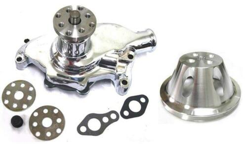 Small Block Chevy CHROME Short Aluminum Water Pump 1 Single Groove Pulley Kit