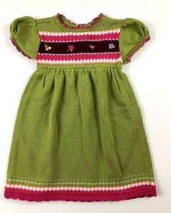 GYMBOREE-Girls-18-24-Months-Happy-Hedgehog-Green-Fall-Sweater-Dress