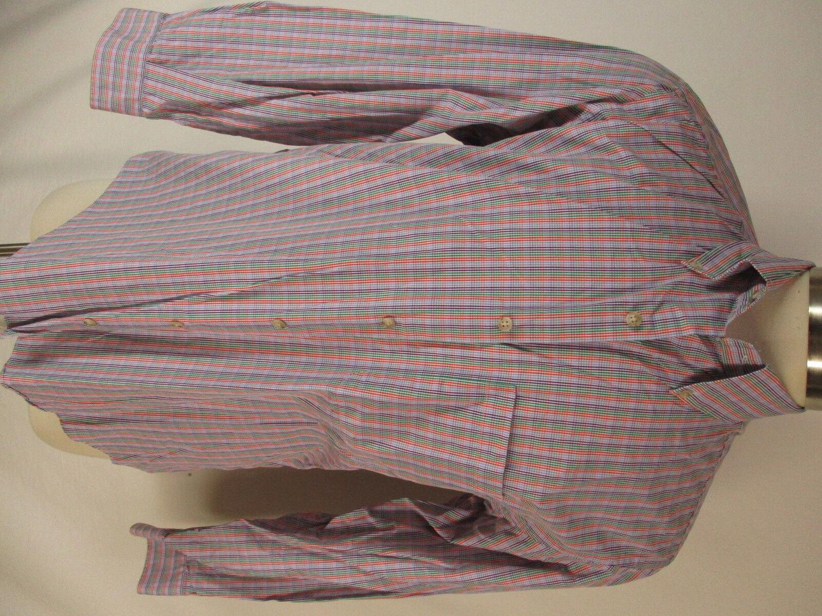 Paul Stuart Mens Multicolor Plaid Long Sleeve Cotton Shirt L  Made