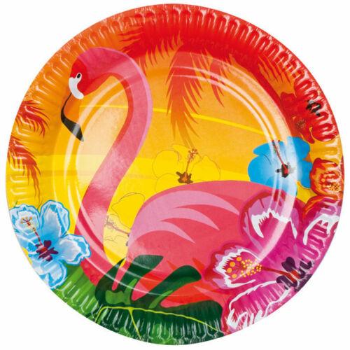 6 Stk Ø 23 Einwegteller Partyteller Teller Hawaii Flamingo