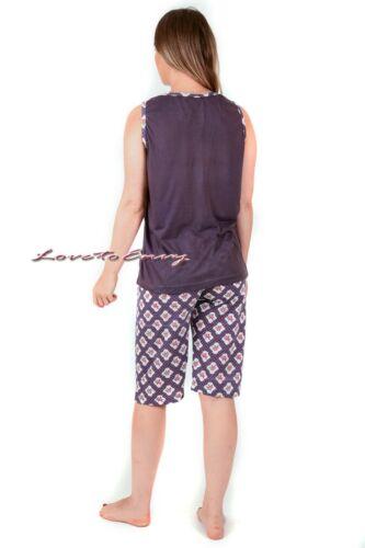 Ladies Womens Cotton Rich Sleeveless Teddy Cosy Nightwear Pyjama Set PJ/'s S-XXL.
