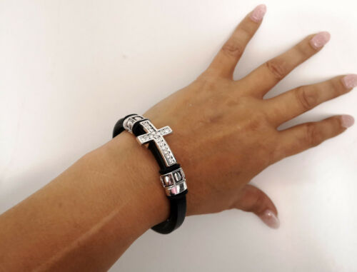 Grueso cordón Negro-Plata Tibetana Tono /& Diamante Cruz Pulsera Magnética
