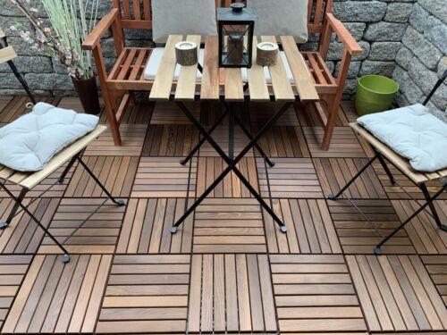 9 Stück Terrassen Fliesen Thermo Esche Natur Holz Platten Stecksystem 33x33cm