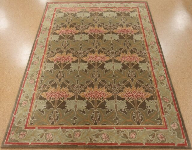 9' x 12' Pottery Barn Cecil Green Persian Style New Hand Tufted Wool Rug Carpet