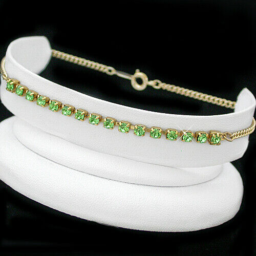 "ALL SIZES 7/""-9/""PERIDOT GREEN Crystal 14k GOLD GL CHAIN FASHION Bracelet"