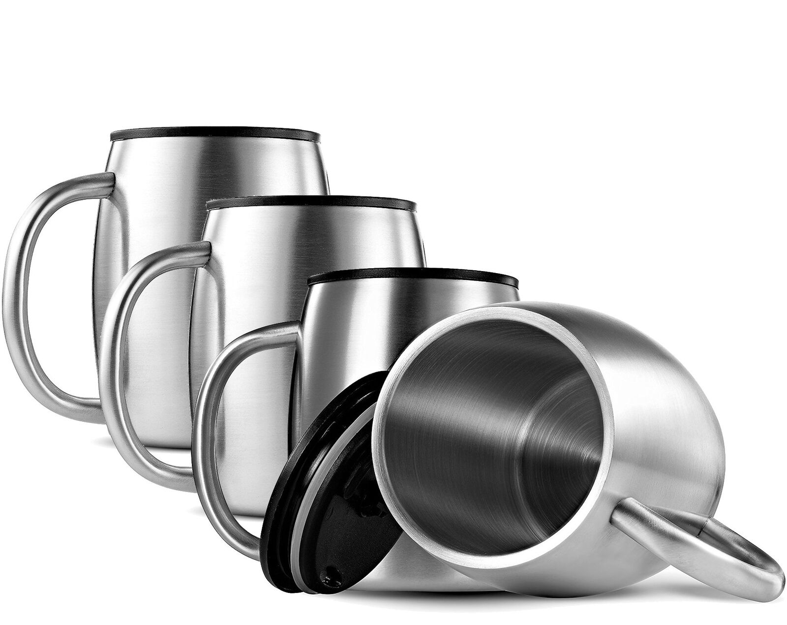 FineDine Double Wall 18 8 Stainless Steel Coffee Mugs with Spill Resistant Lids