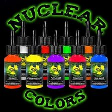 Mom's Nuclear UV Blacklight Tattoo Ink 9 Color 1/2 Ounce Set HOT! Free Shipping