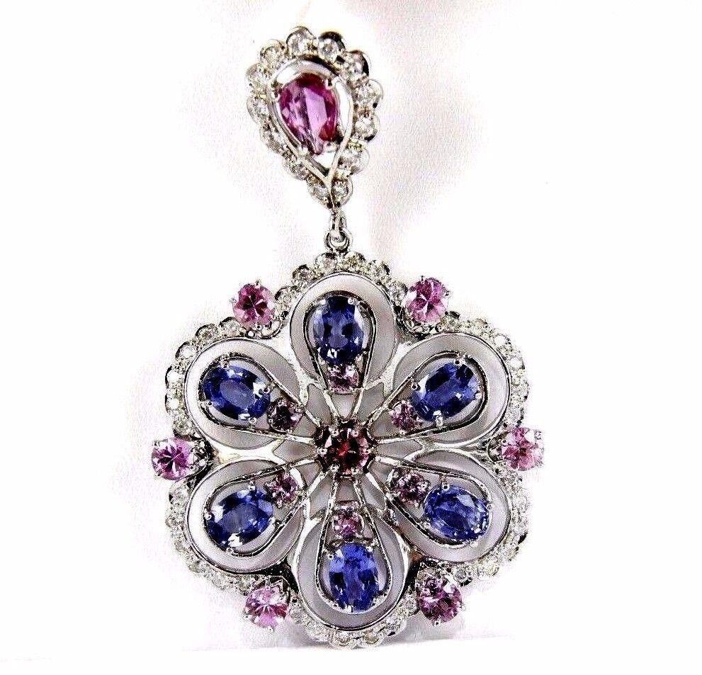Round Pink Sapphire, Tanzanite & Diamond Cluster Pendant 14K WG 11.14Ct