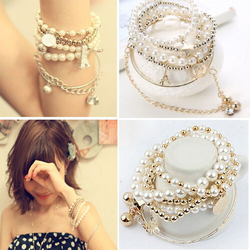 New Girl Gold Chain Pearl Multilayer Tower Star Pendant Bracelet Bangle Party