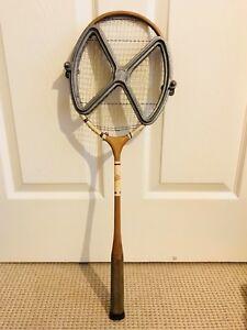 Vintage-Dunlop-Badminton-Squash-Racket-First-Choice-Aluminum-Case-Very-Rare