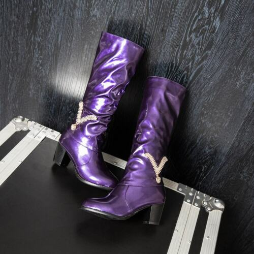 Chaussures femme vernies en Cuir Strass Decor Faible Talons Confort Bottes Hautes
