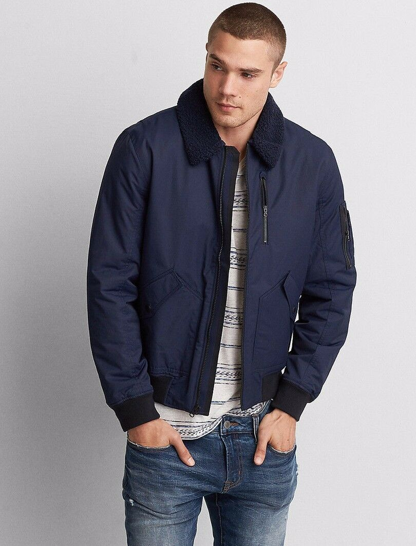 American Eagle Outfitters Para Hombre Abrigo Chaqueta  De Aviador Bombardero AEO S, M, L, XL  el mas de moda