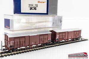 ROCO-76164-H0-1-87-Set-da-2-carri-merce-Ghks-passo-lungo-a-tetto-spiovente-F