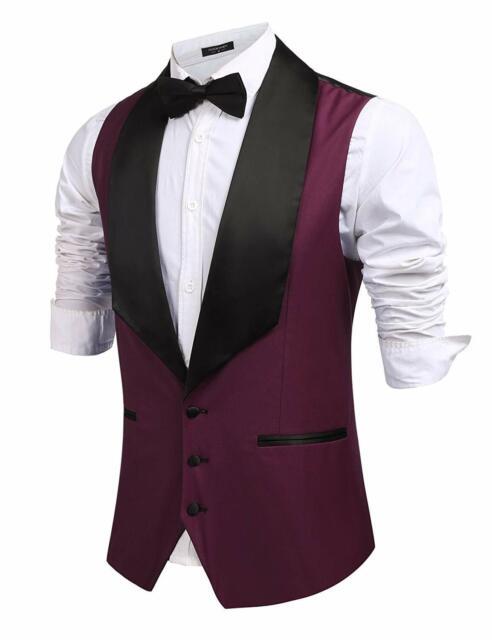Mens V-Neck Sleeveless Blazer Vintage Formal Prom Tuxedo Waistcoat Jacket Coat