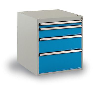 Geschickt Schubfachschrank Protec Industrieausführung 4 Schubladen Lichtgrau/blau - Neu!