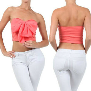 CROP TOP CORAL PINK BOW CHIFFON STRAPLESS TUBE SWEETHEART SUMMER ...