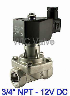 """3/4"""" Inch Stainless Electric Hot Water Steam Solenoid Valve NC 12V DC PTFE Seal"""