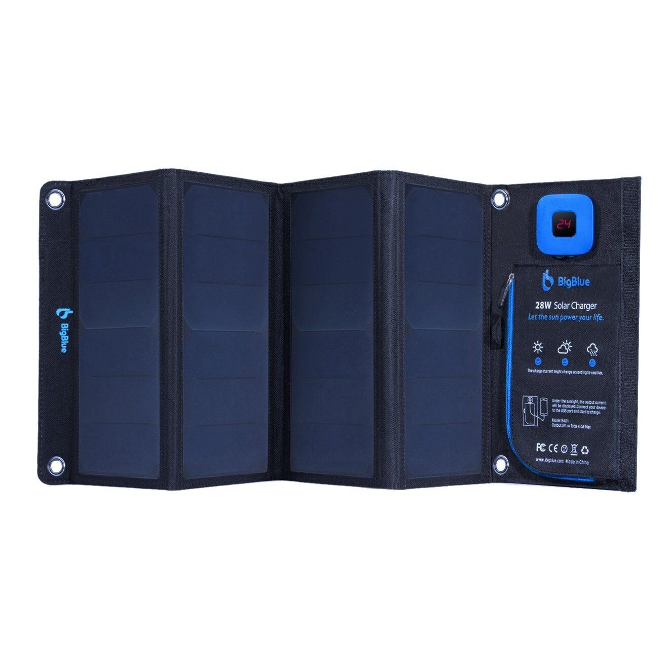 NEW BIGBlau 28W SOLAR PANEL CHARGER W/ DUAL USB FOR IPHONE, GALAXY & MORE