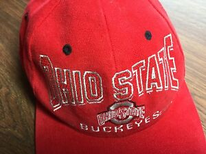 Cap-Hat-OHIO-STATE-BUCKEYES-Red-Snapback-Embroidered-w-Unusual-Shaped-Font-LN
