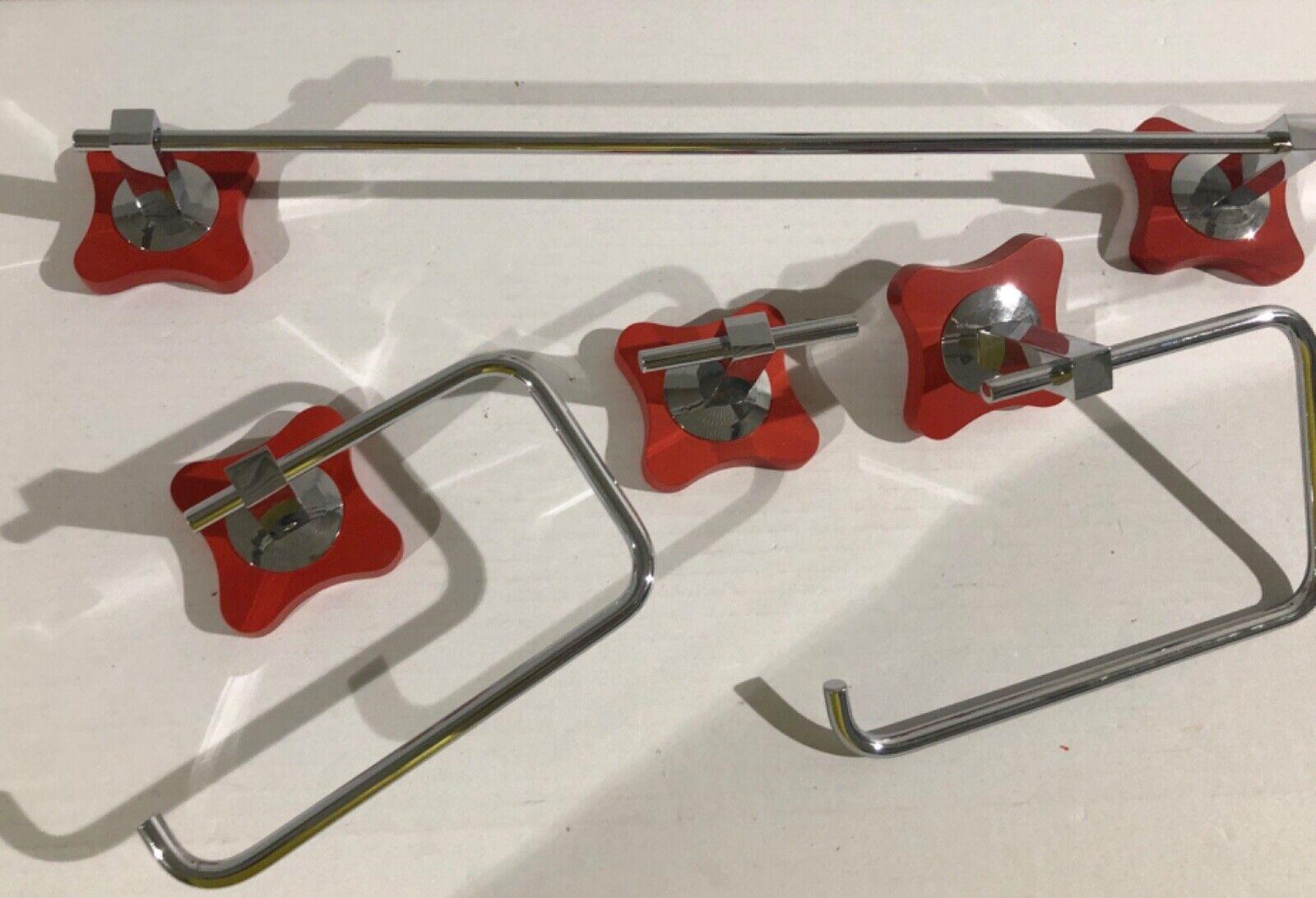 Accesorios baño cromo rojo 4 piezas Mod Agatha rojo T