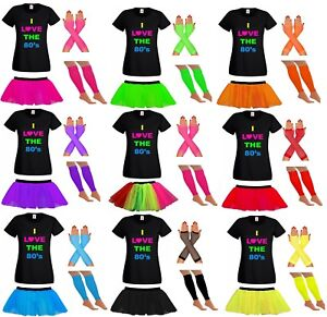 LADIES-TUTU-TSHIRT-GLOVES-LEG-WARMERS-80S-FANCY-DRESS-SET-COSTUME-NEON-FESTIVAL