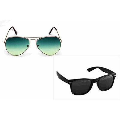 Combo Sunglass in Lavish Green  Aviator and wayfarer in Black