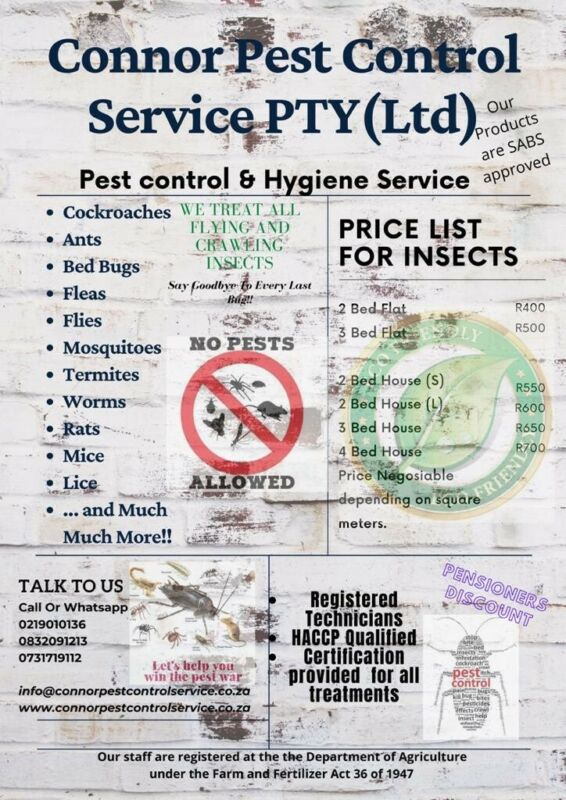 *R380* Certified Pest Control, Fumigation and Sanitizing at the lowest rates 0832091213