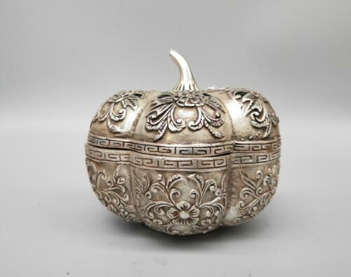 Chinese white copper pumpkin incense burner crafts statue