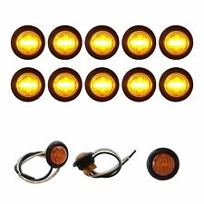 "10 NEW  3/4"" AMBER LED CLEARANCE MARKER BULLET TRUCK TRAILER LIGHTS BARE WIRES"