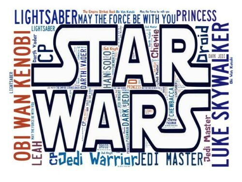 Star Wars poster Star Wars words Spelled out in poster Wall art.