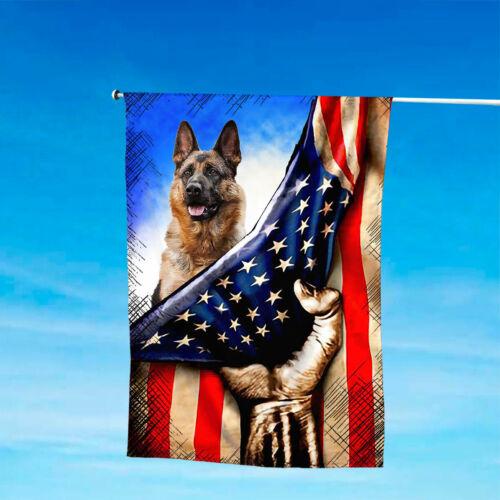 German Shepherd Patriotic House And Garden Flags 4th July US American Flag