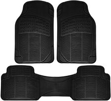 Floor Mats for SUVs Trucks Vans 3pc Set All Weather Rubber Semi Custom Fit Black