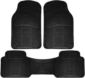 Truck Floor Mats for Toyota Tacoma 3pc Set All Weather Rubber Semi Custom Black