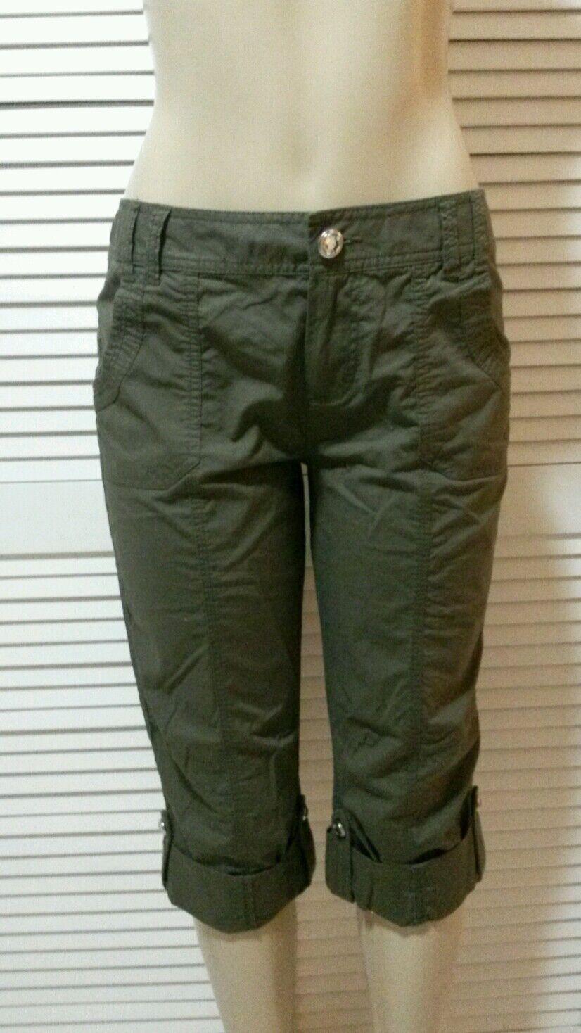 NEW  INC Dark Grün Regular Fit Jeweled Button Seamed Capri Pants 8