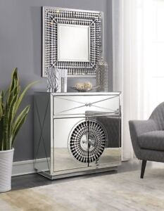 Mirrored Furniture Silver Chest 2 Door Cabinet Drawer Glass Living ...