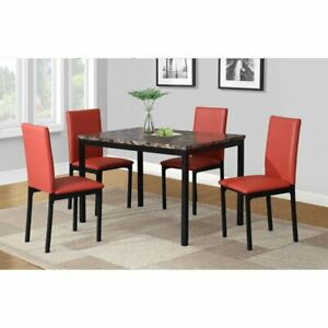 Black White Brown Red 5 Pc Dining Table, Red Dining Room Set
