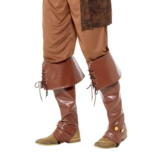 FANCY DRESS 2 SIDED BOOT CUFFS PIRATE BUCCANEER BROWN