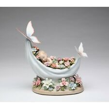 "PORCELAIN SLEEPING FAIRY,BABY ON HAMMOCK,BUTTERFLY ""BEAUTIFUL DREAMER"" MUSIC BOX"