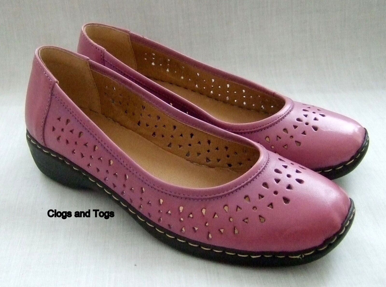 New Clarks Glory pour Femme en Cuir Violet Léger Chaussures